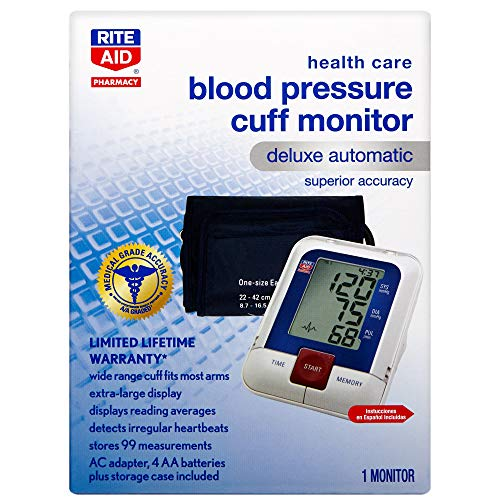 Rite Aid Deluxe Automatic Blood Pressure Monitor & Cuff | Digital Blood Pressure Monitor for Upper Arm with Extra Large Display | High Blood Pressure Monitor