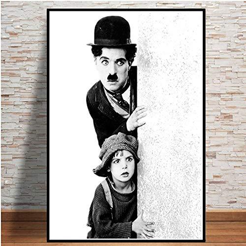 WDQTDW Leinwanddruck Retro Das Kind Lustig Schauspieler Charlie Chaplin Film Poster Und Kunstdrucke Wall Art Wall Bilder Für Wohnzimmer Home Decor