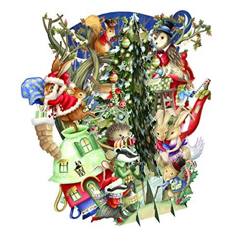 Paper D'Art Weihnachtskarte Holiday Animals, 3D Pop-Up, Weihnachtsmotiv