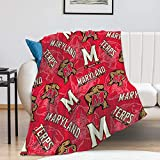 Maryland Fleece Blanket, University Warm Ultra-Soft Throw Blanket, Fashion Home Decoration Blanket 50'×60'