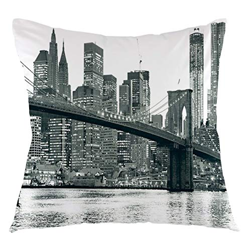 Modern Throw Pillow Cushion Cover Brooklyn Bridge Sunset with Manhattan American New York City Famous Town Image Decorative Square Accent Pillow Case, 24' X 24',Monochrome