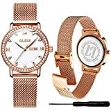 OLEVS Gold Diamond Calendar Watches for Women...