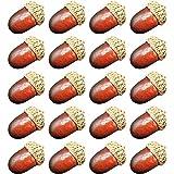 Romote 20 piezas artificiales de simulación realista pequeña bellota, decoración de frutas, otoño, hogar, cocina, decoración de fotografía, accesorios