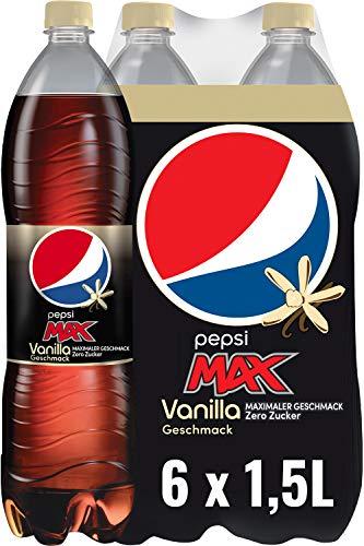 Pepsi Max Vanilla – Das zuckerfreie Erfrischungsgetränk von Pepsi ohne Kalorien – Koffeinhaltige Cola in der Flasche mit Vanille Geschmack – 6 x 1,5l