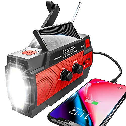 Emergency Radio Hand Crank Solar, 4000mAh Portable Weather Radio, NOAA Weather Radio, Outdoor Radio with Flashlight & Motion Sensor Reading Lamp, Solar Cell Phone Charger, SOS Alarm(Red)