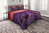 ABAKUHAUS Dunkelviolett Tagesdecke Set, Lavendel-Feld-Sonnenuntergang, Set mit Kissenbezügen Waschbar, 220 x 220 cm, Coral & Lila