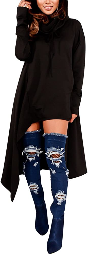 Annystore Women's Plain Long Sleeve Asymmetric Hem Pullover Hooded Sweatshirt Dress with Pockets