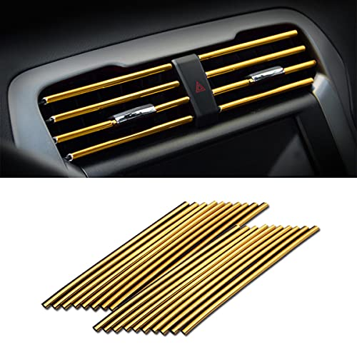 20 Pieces Car Air Conditioner Decoration Strip for Vent Outlet, Universal Waterproof Bendable Air Vent Outlet Trim Decoration, Suitable for Most Air Vent Outlet, Car Interior Accessories (Gold)