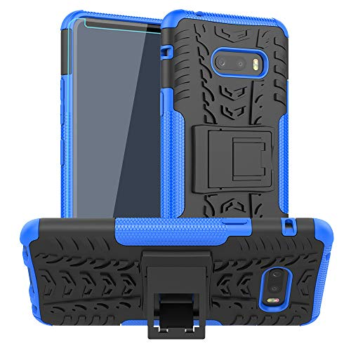 LG G8X ThinQ Case, with HD Screen Protector, SKTGSLAMY [Shockproof] Tough Rugged Dual Layer Protective Case Hybrid Kickstand Cover for LG G8X ThinQ (Blue)