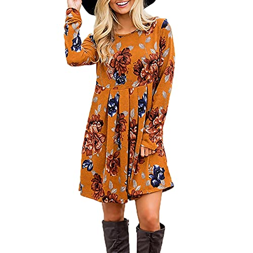 XYJD Lente en zomer dames casual Hedging ronde hals lange mouwen bedrukken grote rok jurk vrouwen - oranje - 5XL