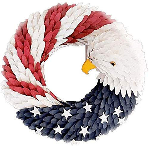 American Eagle Wreath - Americana Patriotic Wreath USA July 4th Wreath, Handcrafted Memorial Day Wreath Festival Garland Decoration Over Mantel, Front Door Home Wall, in a Picture Window