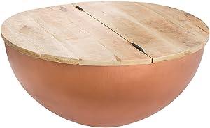 Riess Ambiente Massiver Couchtisch Goa Industrial Storage Mangoholz Bohlen Kupfer Massivholz mit klappbarer Tischplatte Aufbewahrung