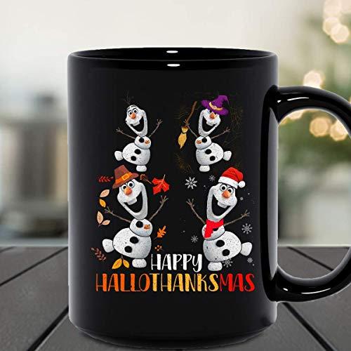 N\A Olaf Schneemann Happy Hallothanksmas Olaf Cartoon Halloween Thanksgiving Weihnachtsfeier Keramikbecher Grafik Kaffeetassen Schwarze Tassen Teekannen Benutzerdefinierte Neuheit 11 Unzen