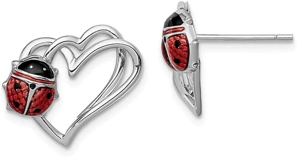Black Bow Jewelry 15mm Heart Enameled Earrings Ladybug and Post Finally resale Animer and price revision start