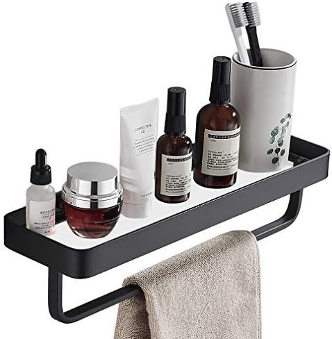SIMVE 15.7 Inch Bathroom Tempered Glass Shelf with Towel Bar,Wall Mounted Aluminum Shower Organizer,Over Toilet Storage Cabinet,Matte Black,Kitchen Rectangular Vanity Rack