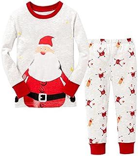 Brain Giggles Santa Theme Kids Pajamas Set, Toddler Kids baby Girls Pajamas/Nightwear Sleepwear T Shirt Pants Set, Kids Ni...