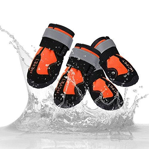 MyfatBOSS Hund Stiefel, Gummi Wasserdicht Regen Stiefel für Hunde mit Rutschfester, Outdoor Robuste Rutschfeste Sohle mit Reflektierende Klettverschluss Schutz Hund Schuhe