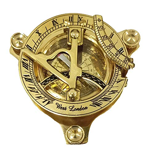 Sonnenuhr-Kompass – massives Messing-SonnenZifferblatt 7,6 cm Messing-Sonnenuhr Kompass Nautische Dekoration großes Dreieck Sonnenuhr Kompass mit verstellbaren Schraubenbeinen