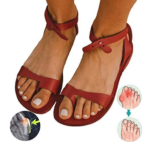 Unknow Sandalias DAMMM Zapatillas de Viaje de Verano para la Playa Zapatos Chanclas Juanetes ortopédicos Férulas para la corrección del Dedo Gordo del Hueso Adecuado para Mujeres, Rojo, 38