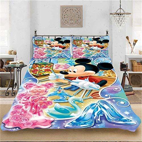 QWAS Bonito diseño de dibujos animados en 3D Disney Mickey, en tamaño completo, microfibra suave, adecuado para niños, niñas y niños pequeños (A06,200 x 200 cm + 50 x 75 cm x 2).
