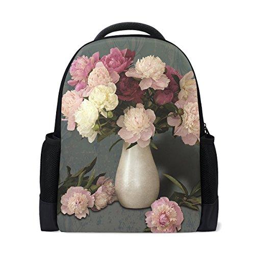 Lianchenyi Vase mit Pfingstrosen, personalisierbar, lässiger Rucksack, Schultasche, Reiserucksack