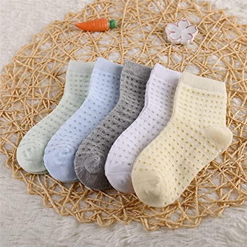 5 par/Lote de Calcetines de algodón para niños, niñas y bebés, Calcetines de Malla sólida Transpirables a la Moda ultrafinos para Verano 1-12T, Adolescentes, niños-a24-S (1-3 Years)