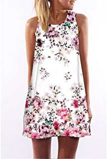 CEGFXCSW Dress Women Dress New Arrival Rose Print Sleeveless Summer Dress O Neck Casual Loose Mini Chiffon Dresses