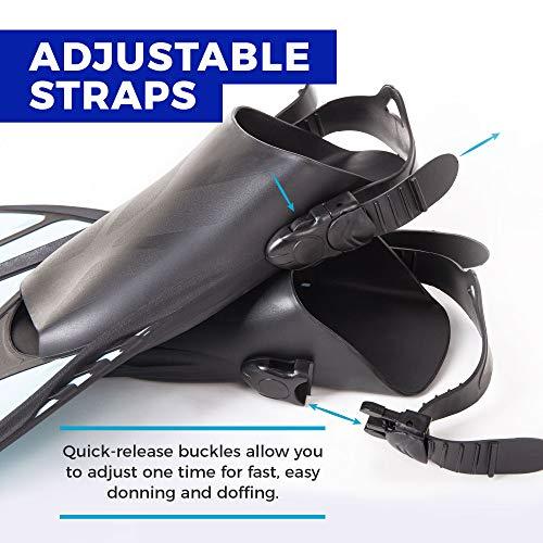 Seavenger Torpedo Snorkeling Fins for Travel (Black, S/M)