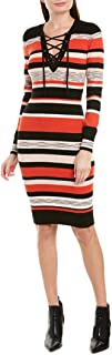 BCBG Max Azria Women's Striped Lace-Up Long Sleeve V-Neck Sweaterdress