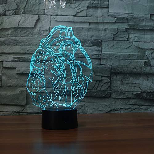 3D Illusion Nuit Lumière Led Veilleuse Lampe,Pompier Optiques Illusions Lampe 7 Couleur Tactile Lampe Art Décor Pour Chambre Chevet Table Enfants Cadeau Noël Fête Anniversaire