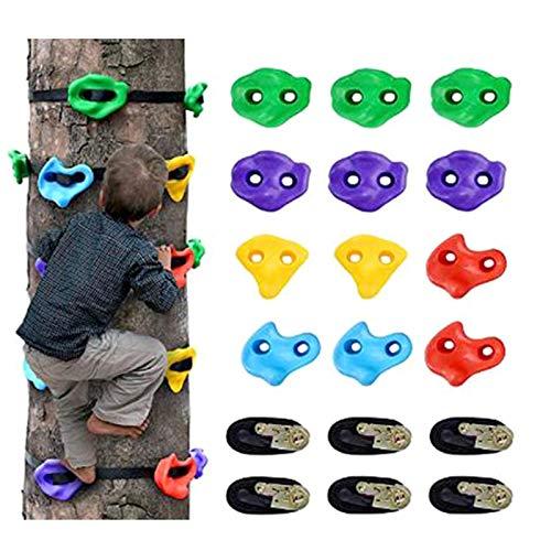 CCCYT Klettersteine Kinder Set Baumklettergriffe Kinderklettersteine Baum Klettergriffe Set Mit 6 Ratschengurte Ideal Zum Klettern Auf Rahmen Kletterhilfen Für Kinder(12pcs)
