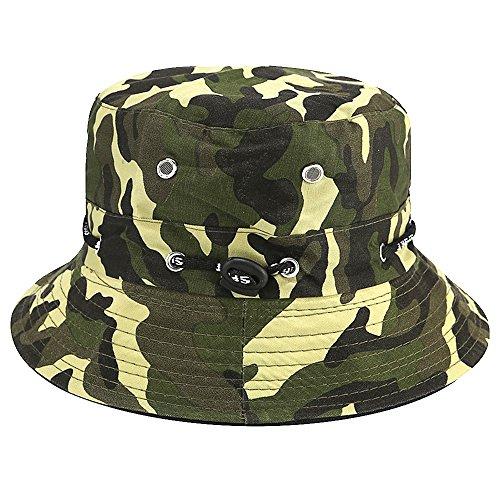 Apanphy® Sommer Baumwolle Fischerhut Safari Wandern Eimer Hut im Freien Sonne brechbare verstellbare Kappe Camouflage