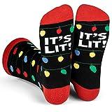 Lavley - It's Lit Funny Christmas Holiday Novelty Crew Socks For Men & Women