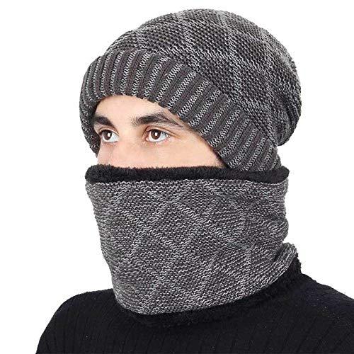 Bonnet Unisexe Chapeau tricoté Homme Beanie Hats, Chapeau d'hiver écharpe Hommes Femmes tricotant Bonnet Chaud Anneau de Chapeau Foulards Unisexe Couleur Unie Bonnet @ Gris