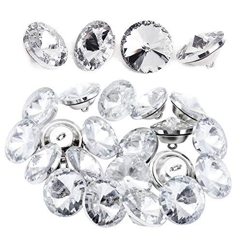 TsunNee 50 botones de cristal con hebilla de metal, 30 mm, transparentes para coser sofá cama, cabecero, manualidades, decoración