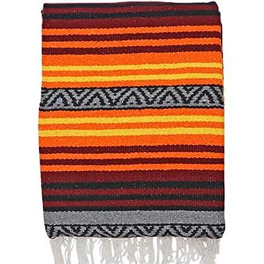 El Paso Designs Peyote Hippie Blanket Classic Mexican Style Falsa Stripe Pattern in Vivid Peyote Colors. Throw, Bed, Tapestry, or Yoga Blanket. Hand Woven Acrylic, 57  x 74  (Peyote 9)