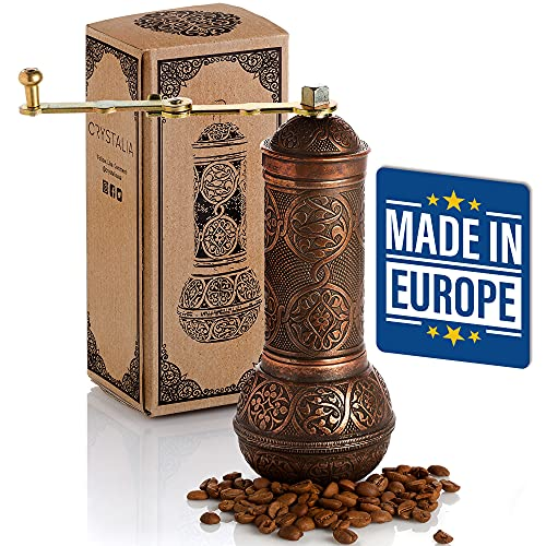 Coffee Grinder, Refillable Turkish Style Mill with Adjustable Grinder, Manual Coffee Mill with Handle, Antique Grinder Metal with Hand Crank, Adjustable Coarseness (Antique Copper)