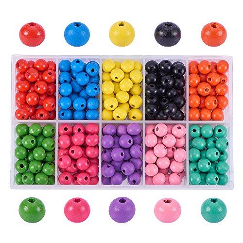 Pandahall Elite 250 – 300 cuentas de madera redondas coloridas, teñidas, ambientales, 10 x 9 mm, agujero: 3,5 mm