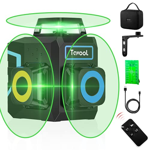 3D Self Leveling Laser Level - 3×360° Green Laser Leveler 12 Lines Laser Level Self Leveling For Outdoor Indoor with Remote Controller, 132Ft Cross Level Laser with 2 Vertical and 1 Horizontal Lines