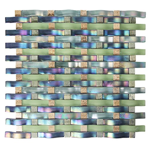Woven Curved Georgette Blue, Green Iridescent Mosaic Glass Tile - 3D Wavy Glass - Kitchen and Bathroom Backsplash (4 x 6 Inch Sample)