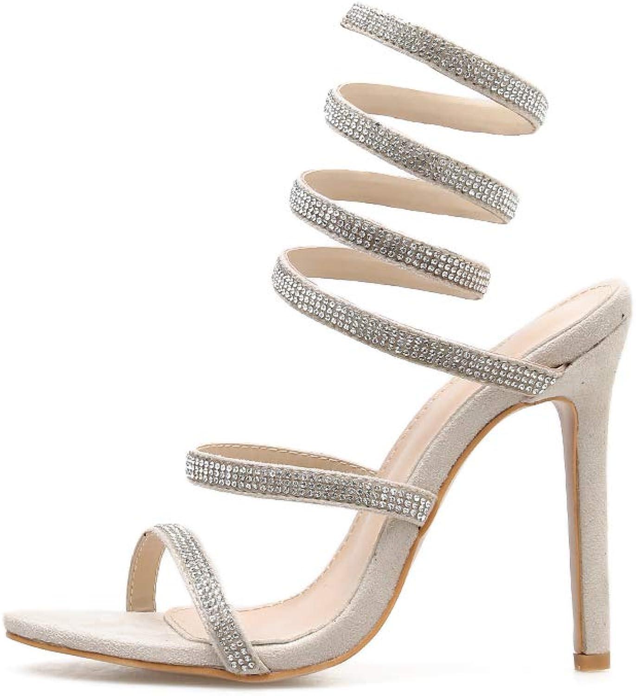 Women's Sandals - Roman shoes, high Heel, Thin, Bare, Open Toe, Rhinestone Suede Sandals