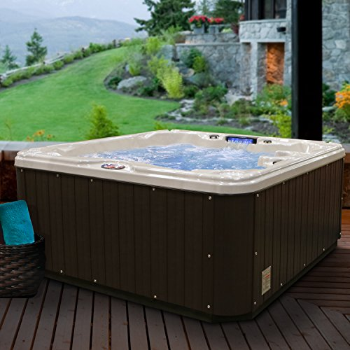American Spas AM-630LM 5-Person 30-Jet Lounger Spa with Backlit LED Waterfall, 5.5Kw Titanium Heater, Tuscany Sun and Mahogany