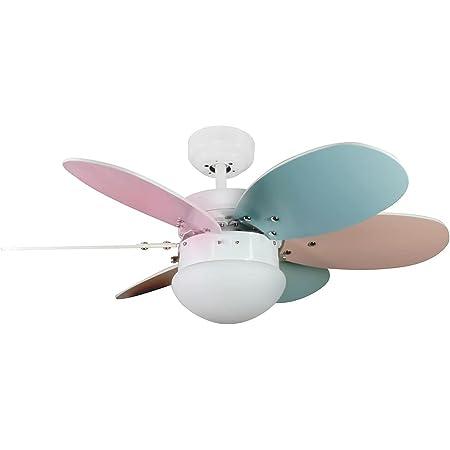 Wonderlamp Ventilateur de plafond avec lumière taupe, pales réversibles, 1 x E27, max. 60 W, 3 vitesses, été/hiver, multicolore