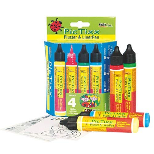 Kreul 49890 - PicTixx Pluster und Liner Pen, für Dekoeffekte durch aufplustern im Backofen, mit Bügeleisen oder Fön, 4 x 29 ml in citron, erdbeere, maigrün und himmelblau sowie Vorlage