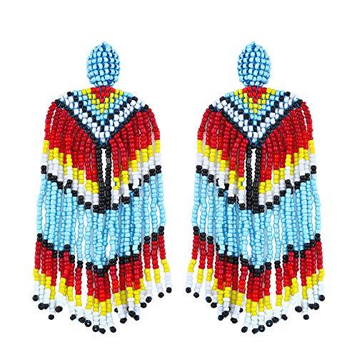 Pendientes personalizados joyas de estilo étnico en forma de abanico perlas de...
