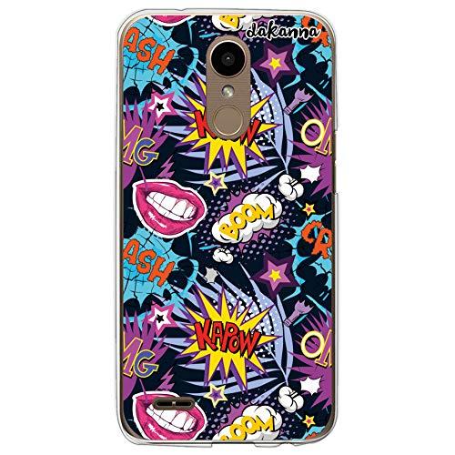 Dakanna Funda compatible con [LG K10 2017] de Silicona Flexible, Dibujo Diseño [Pattern con frases estilo comic y labios boom], Color [Borde Transparente] Carcasa Case Cover de Gel TPU para smartphone