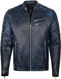 Juicy Trendz® Mens Motorbike Leather Jacket Motorcycle Slim Fit Distressed Vintage Style Biker Jacket