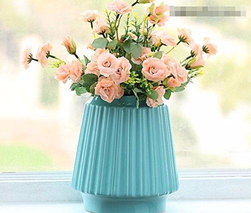 LLPXCC Faux Fleurs Accueil création florale table à manger salle de séjour moderne minimaliste européenne fleurs décoratives pastorale cuisine extérieur mariage fête Noël rose rose bleu vase en céramique