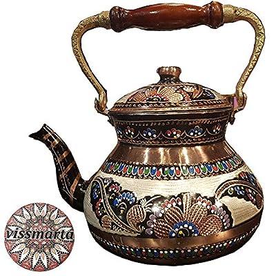 Turkish TeaPot Tea Kettle for Stovetop - 100% Pure Copper Hammered Vintage for Serving Water Boiler Gift 3.1 Quartz - 3 Liter