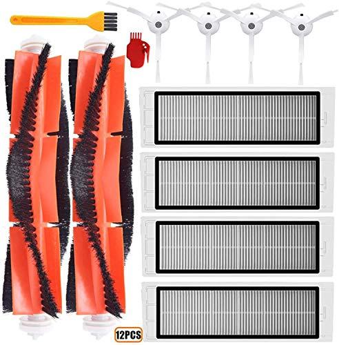 Cepillo de filtro lateral principal para Xiaomi MI Robot Vacuum 2 Roborock S50 MAX S60 E25 E35 Accesorios de piezas de aspiradora (color: 7 piezas) cepillo de filtros (color: 12 piezas)